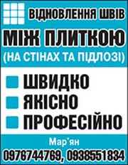 Відновлення Швів Між Плиткою (У Ванній,  туалеті,  кухні,  коридорі).