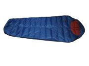 Пуховый спальный мешок кокон облегчённый на рост до 180 см.